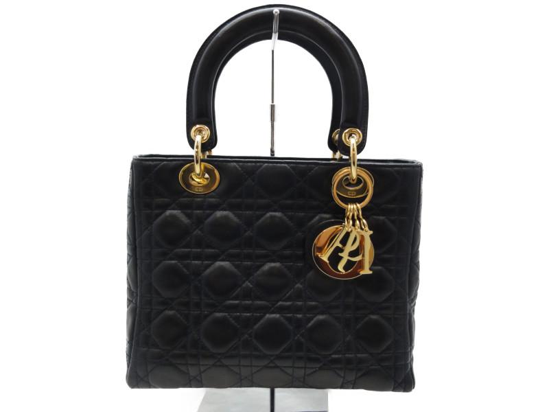 Christian Dior クリスチャン・ディオール レディディオール カナージュ ネイビー ゴールド金具 ラムスキン 2WAYバッグ ハンドバッグ ショルダーバッグ フォーマル レディース 【中古】