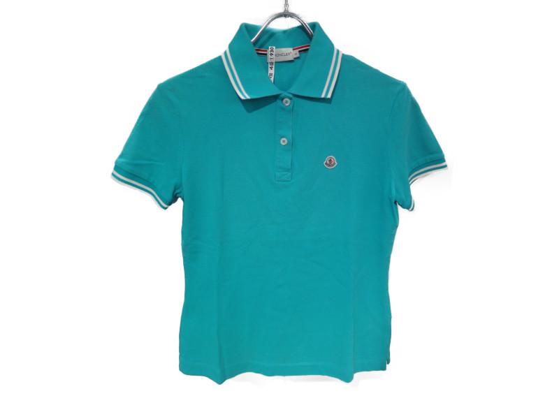 MONCLER モンクレール ポロシャツ レディース 半袖 水色 ターコイズブルー×ホワイト S 綿100%【中古】