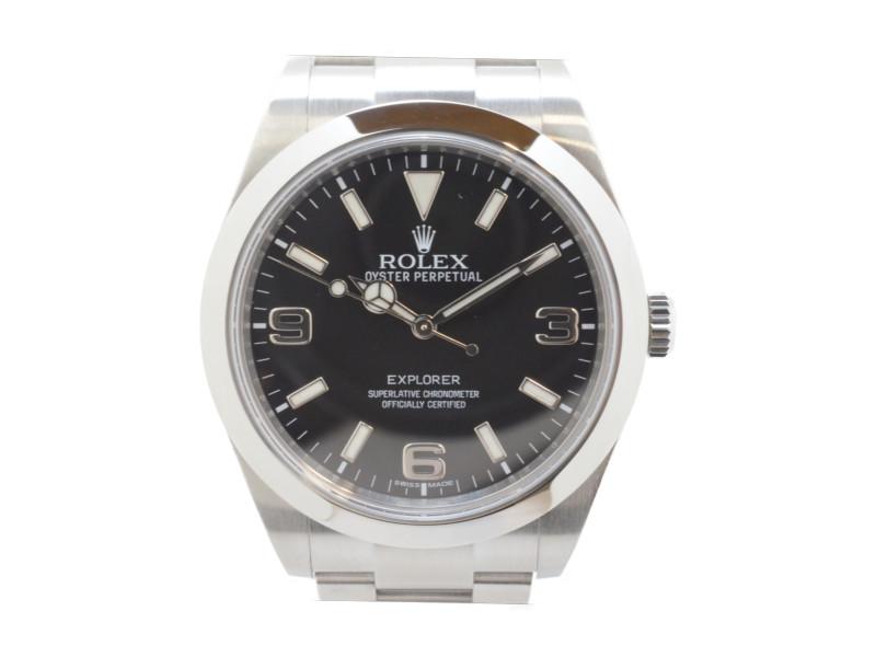 ROLEX ロレックス 214270 エクスプローラー1 ランダム番 (2014年記載) 黒文字盤 ステンレスベルト 自動巻き メンズ 腕時計 高級時計 【中古】