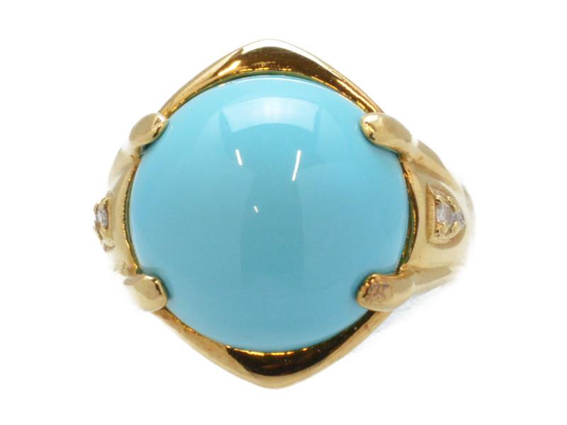 K18 トルコ石×ダイヤモンド リング 指輪 ブルー/ゴールド 13号 レディース【中古】【送料無料】