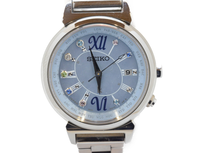 SEIKO セイコー SSVV023 LUKIA 2016年サマー限定モデル ソーラークオーツ 電波時計 レディース 青文字盤 シェル文字盤 腕時計 【中古】