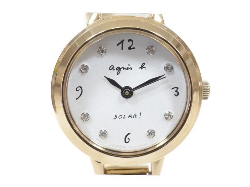agnes-b アニエスベー ソーラー腕時計 V117-0DP0 スワロフスキー アニエス・b レディースウォッチ 【中古】