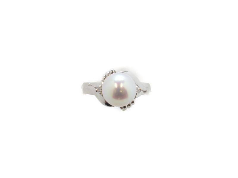 Pt900 パール付きリング プラチナ メレダイヤ 指輪 8.5号 レディース 【中古】