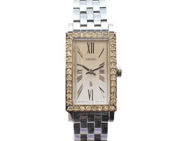 SEIKO セイコー ルキア 1F20-0BS0 ラインストーン スワロフスキークリスタル クオーツ 腕時計 レディース【中古】