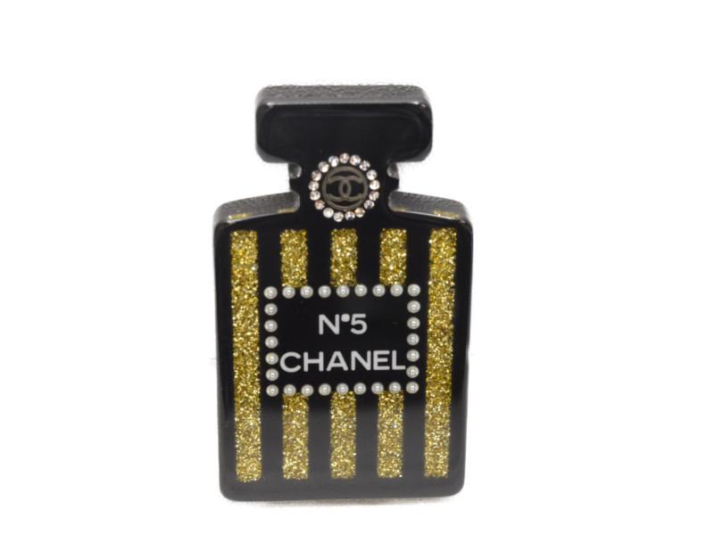 CHANEL シャネル パフュームモチーフブローチ 17A 香水No.5モチーフ ブラック×ゴールド ココマーク レディース 【中古】
