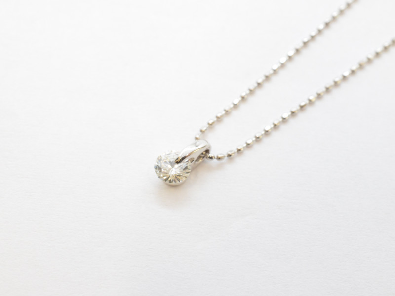 K18WG ダイヤネックレス ダイヤモンド ホワイトゴールド 一粒ダイヤ【中古】