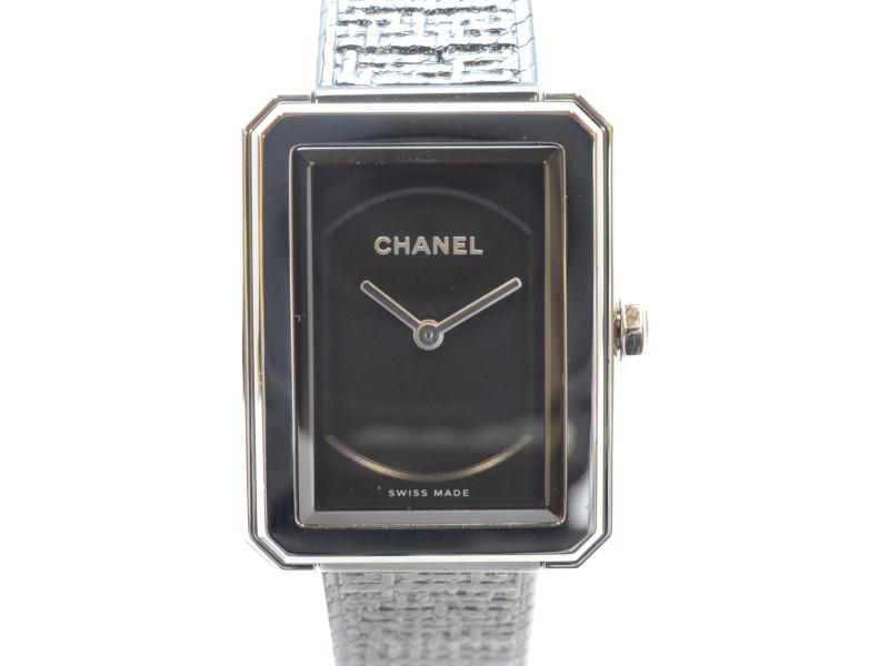 CHANEL シャネル H5317 ボーイフレンド ツイード クオーツ時計 レディース時計 ブラック/シルバー【中古】【送料無料】