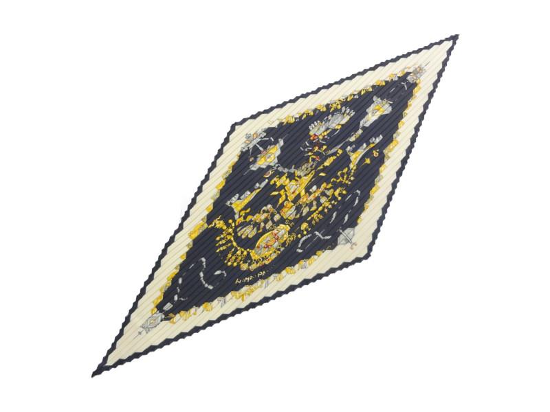 HERMES エルメス プリーツスカーフ シルク100% レディース 88×88 ネイビー/ホワイト/イエロー 【中古】
