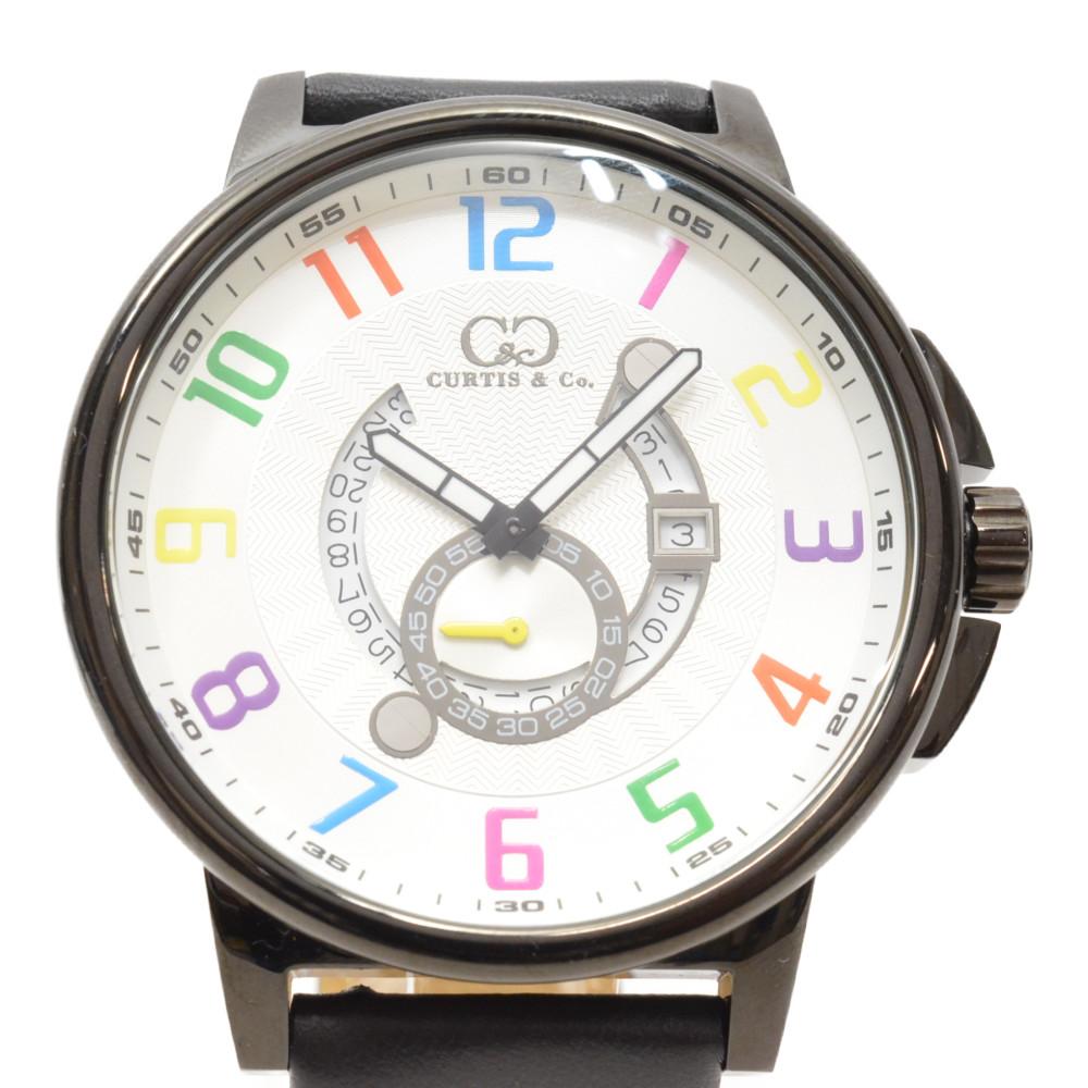 CURTIS&Co カーティス ビッグタイムクール ホワイト×マルチカラー クォーツ 54mmケース メンズ 腕時計 【中古】