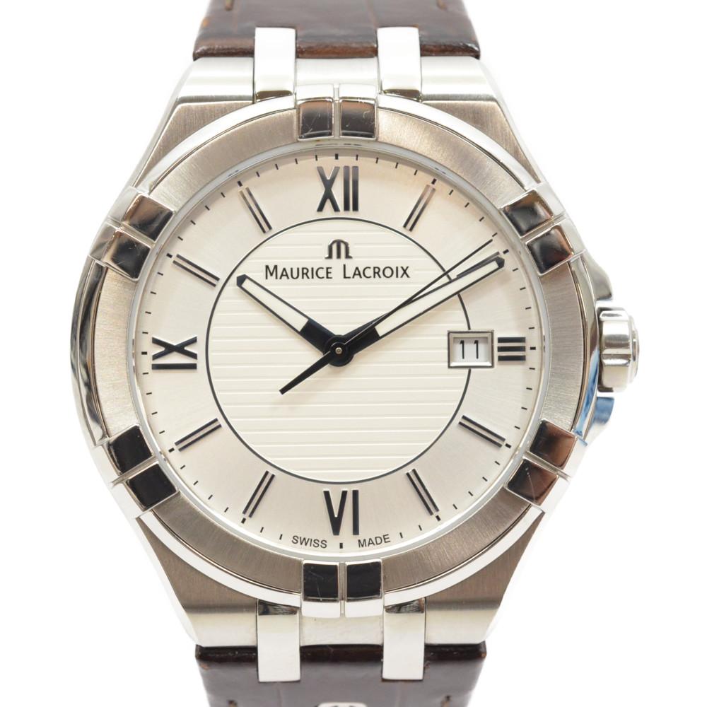 MAURICE LACROIX モーリス・ラクロア アイコンデイト AI1008-SS001-130-1 クォーツ シルバー×ブラウン 腕時計 メンズ 【中古】