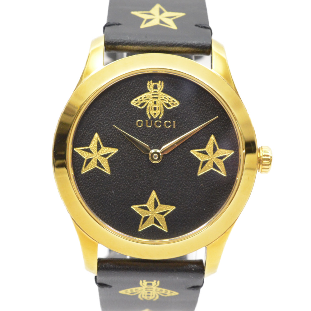 GUCCI グッチ Gタイムレス ミディアムウォッチ YA1264055 ブラック文字盤 スター ビー蜂 クォーツ 腕時計 ユニセックス 【中古】