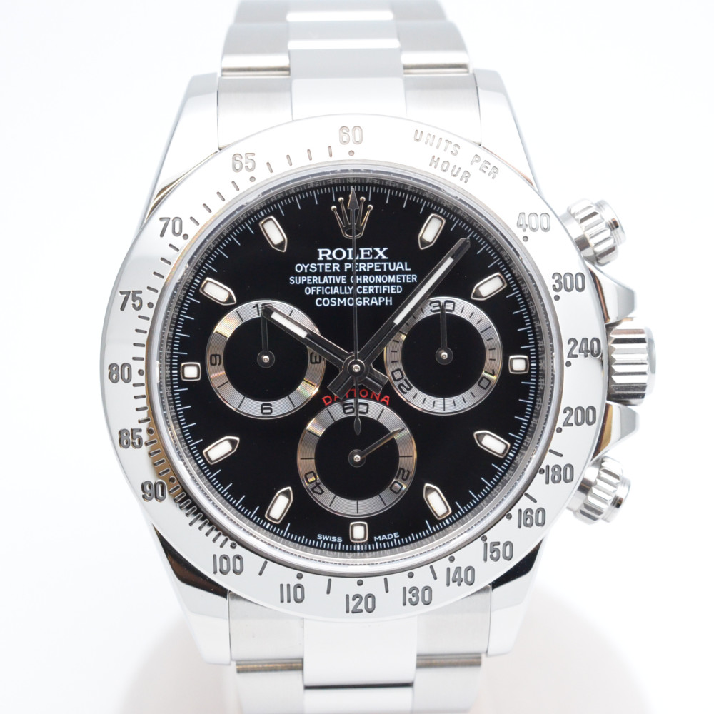 ROLEX ロレックス コスモグラフデイトナ 116520 ランダム番 オーバーホール済み 2016年記載 自動巻き ブラック文字盤 腕時計 メンズ 【中古】