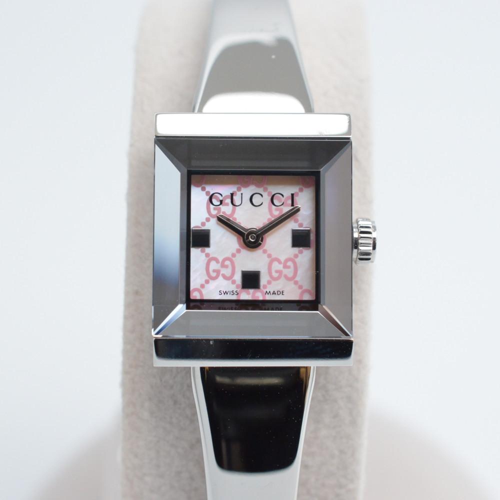 GUCCI グッチ YA128516 Gフレーム ブレスウォッチ クオーツ時計 レディース 腕時計 ピンクシェル文字盤 【中古】