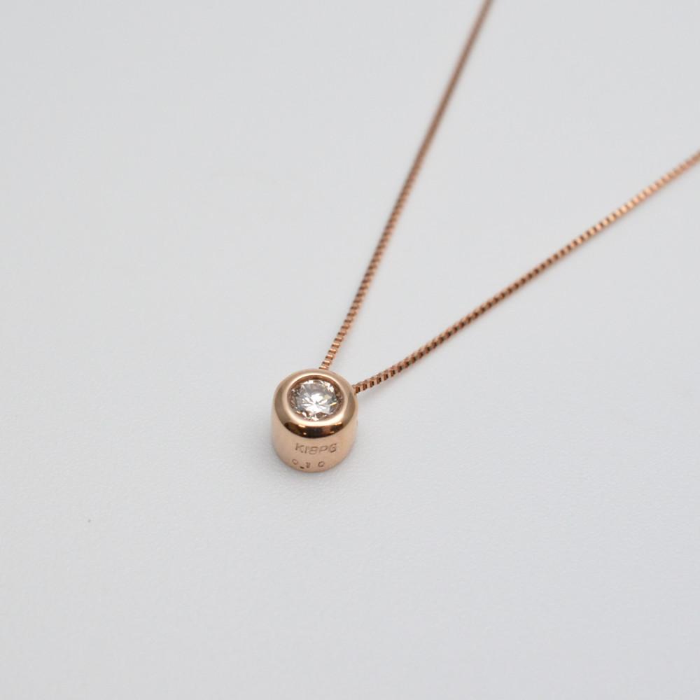 K18PG ダイヤ付き ネックレス ピンクゴールド 0.10ct レディース ジュエリー プレゼント 【中古】