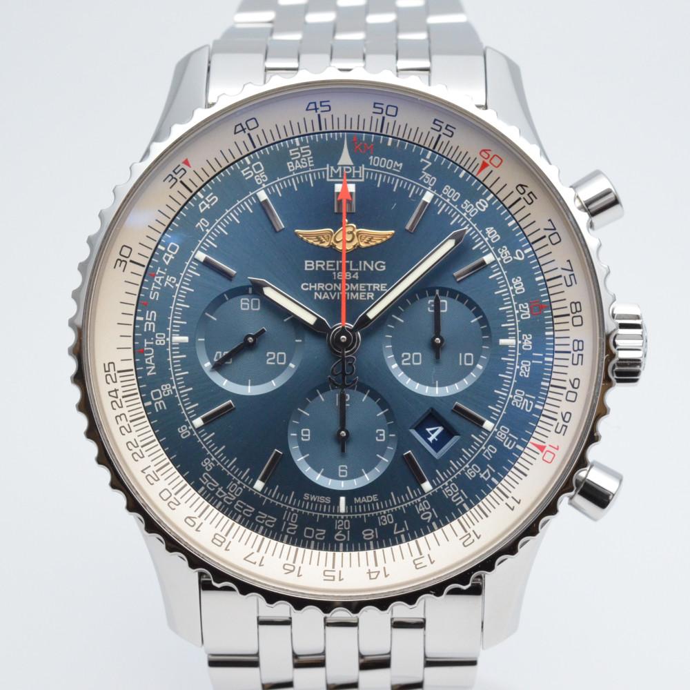 BREITLING ブライトリング AB012721/C889 ナビタイマー01 46mm 自動巻き 裏スケルトン ステンレスベルト 高級時計 メンズ 腕時計 OH済み 仕上げ済み 美品 【送料無料】【中古】