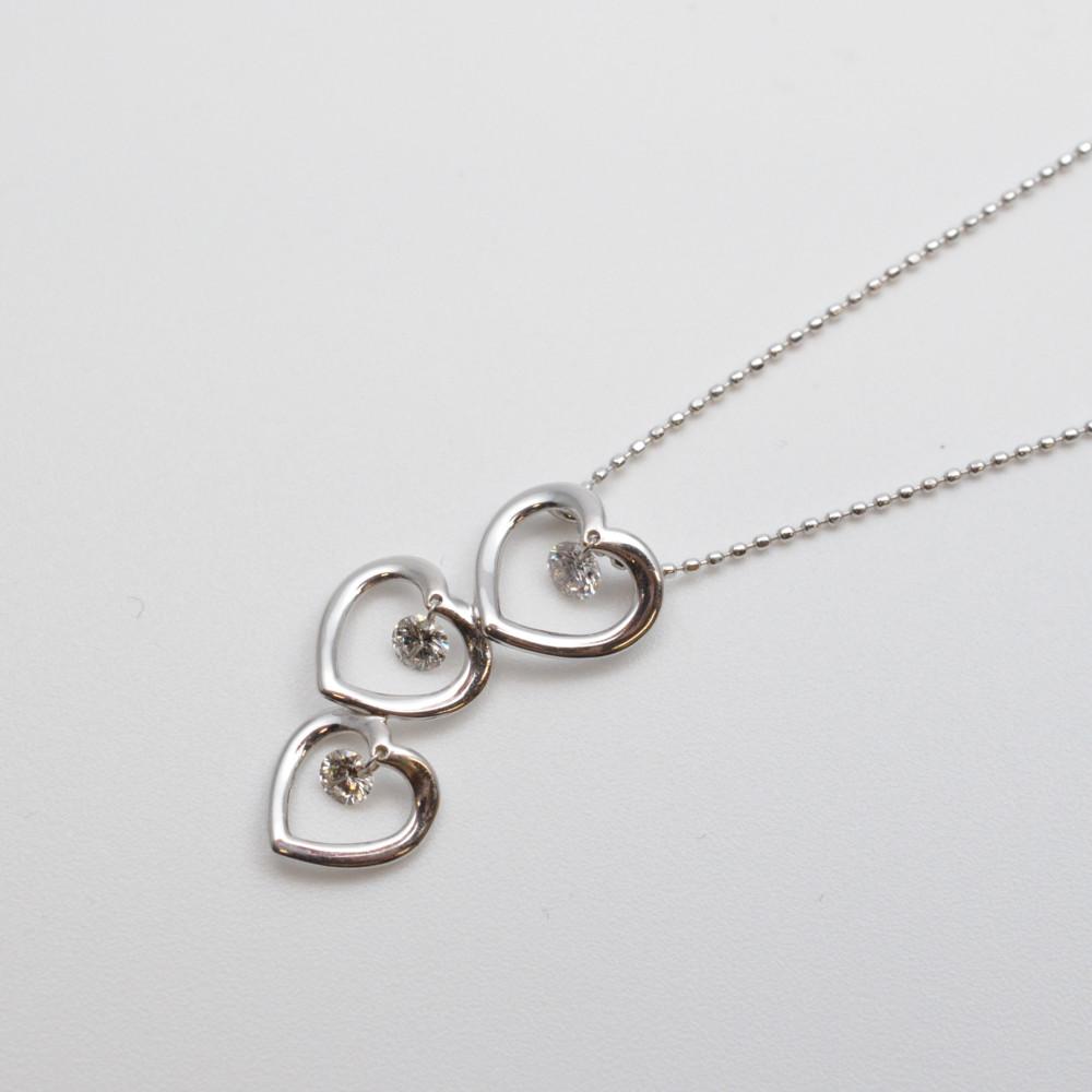 K18WG ダイヤ付き ハートモチーフ ネックレス ペンダント ホワイトゴールド 0.30ct 45cm【中古】