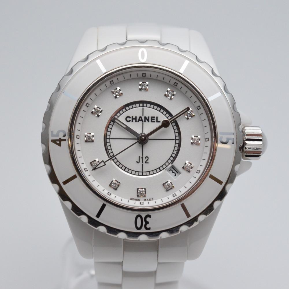 CHANEL シャネル H1628 J12 12Pダイヤモンド クオーツ レディース メンズ 腕時計 ホワイト 白文字盤 セラミック 【送料無料】【中古】