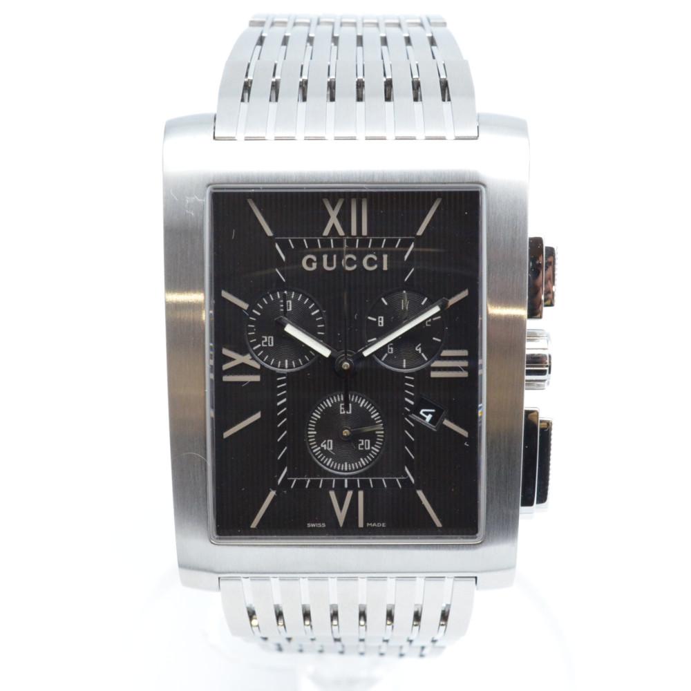 GUCCI グッチ 8600M Gメトロ クオーツ 腕時計 クロノグラフ 黒文字盤 【送料無料】【中古】