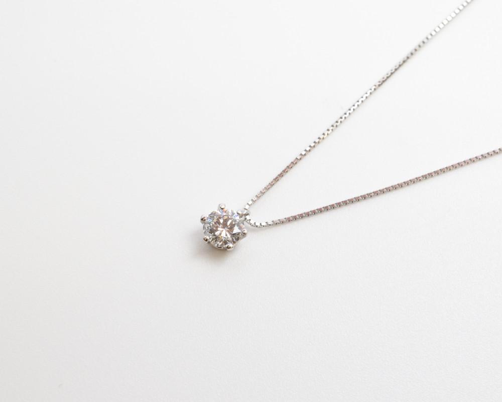 Pt850/900 1P ダイヤネックレス プラチナ ダイヤモンド 一粒ダイヤ ソーティング付き レディース【送料無料】【中古】