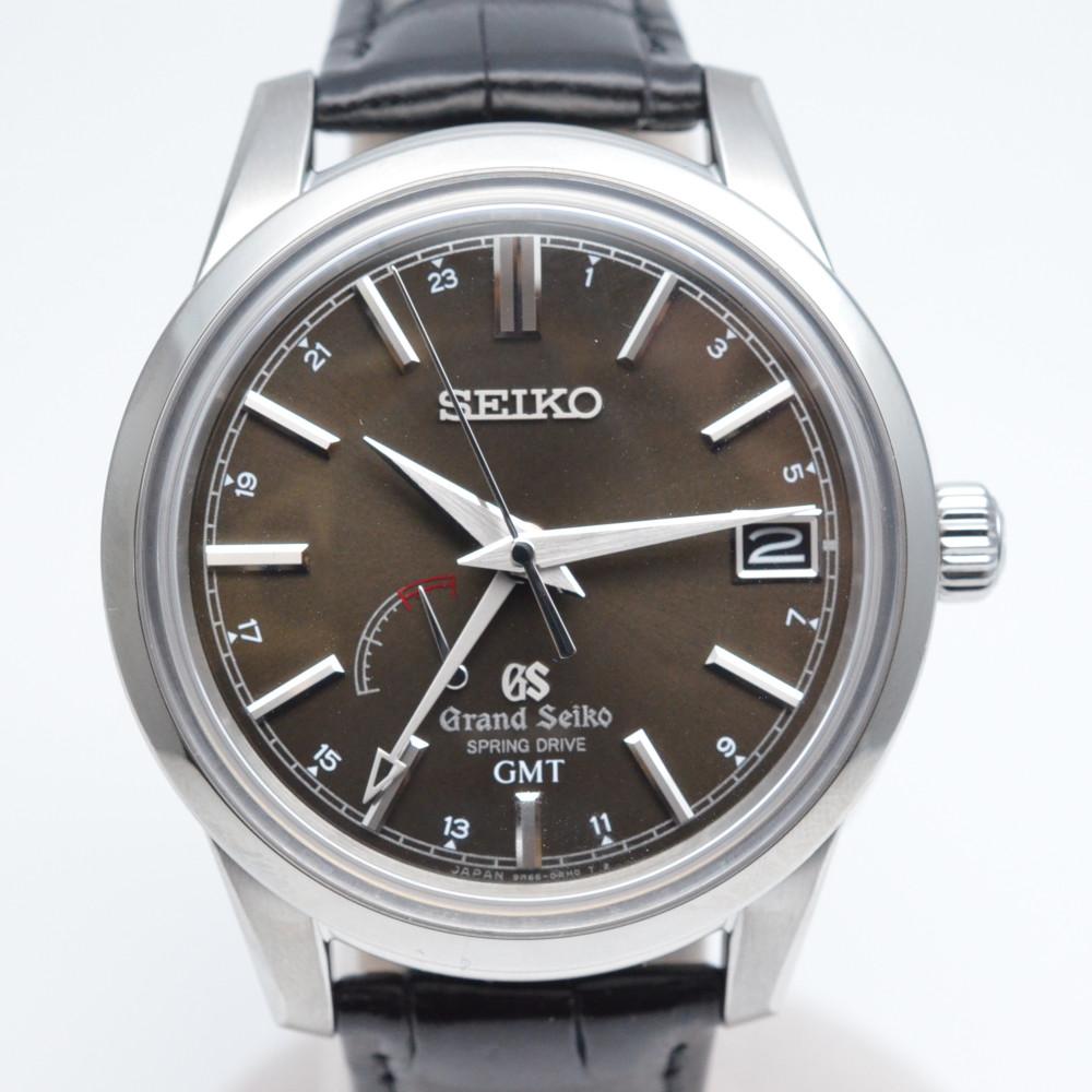 GRAND SEIKO グランドセイコ― SBGE027 スプリングドライブ 自動巻き時計 GMT ステンレススチール×レザー【中古】【送料無料】