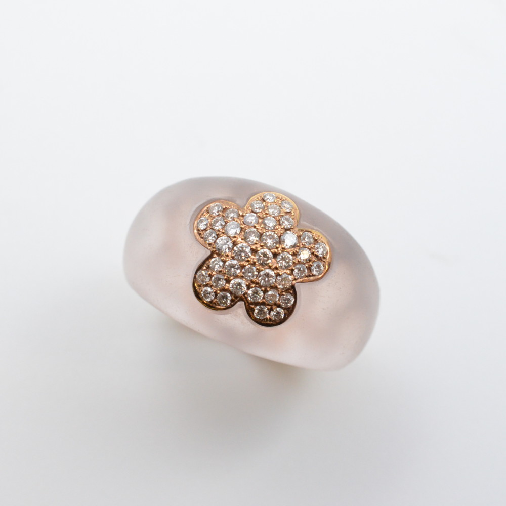 K18 ローズクオーツ 750 リング 指輪 ダイヤモンド フラワーモチーフ 花 ピンク×ゴールド 12号 ソーティング有り【中古】