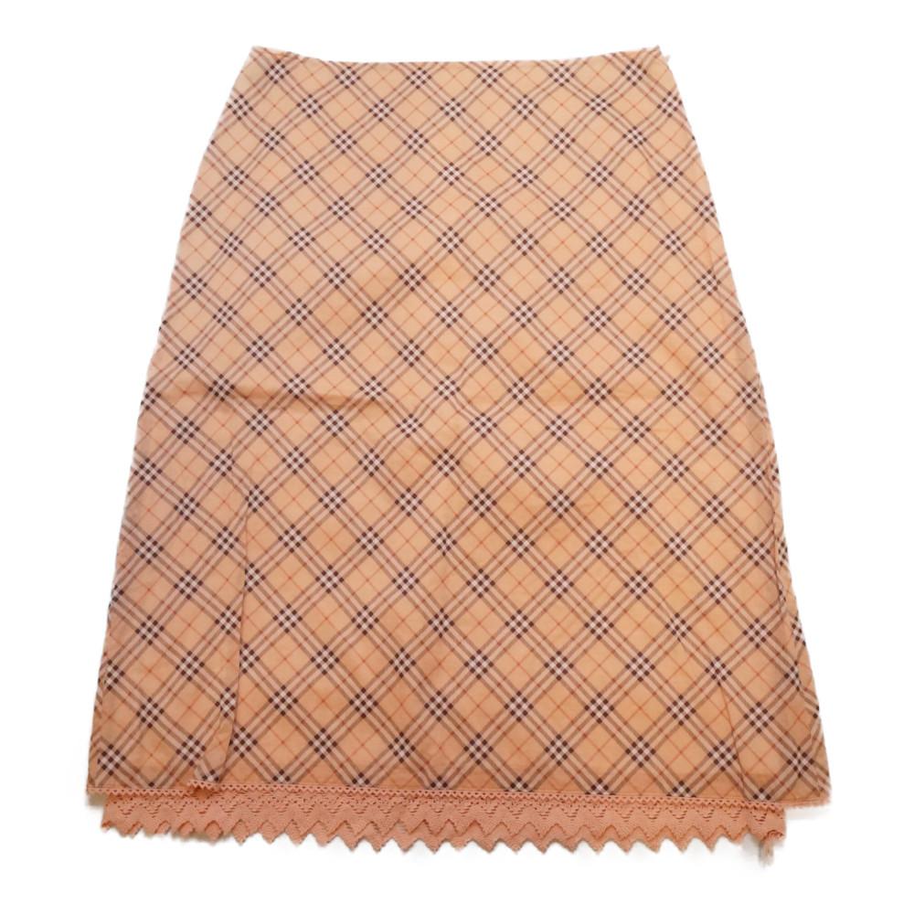 この商品はかんてい局盛岡店から発送いたします BURBERR BLUE ●手数料無料!! LABEL バーバリー 海外限定 ブルーレーベル ノバチェック 膝丈スカート ピンク系 38サイズ コットンスカート レディース 中古