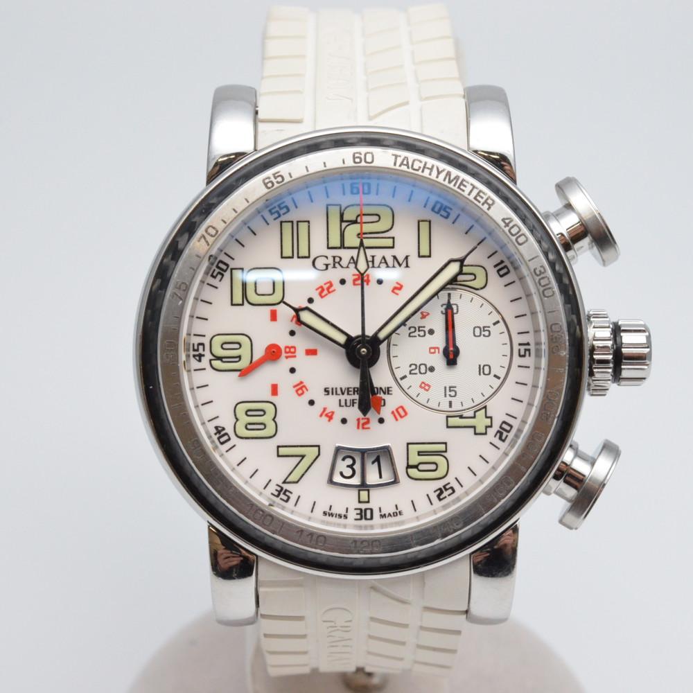 GRAHAM グラハム グランドシルバーストン ルフィールド  2GSIUS.W01A.K40B 500本限定 メンズ 腕時計 自動巻き ホワイト/シルバー 【中古】