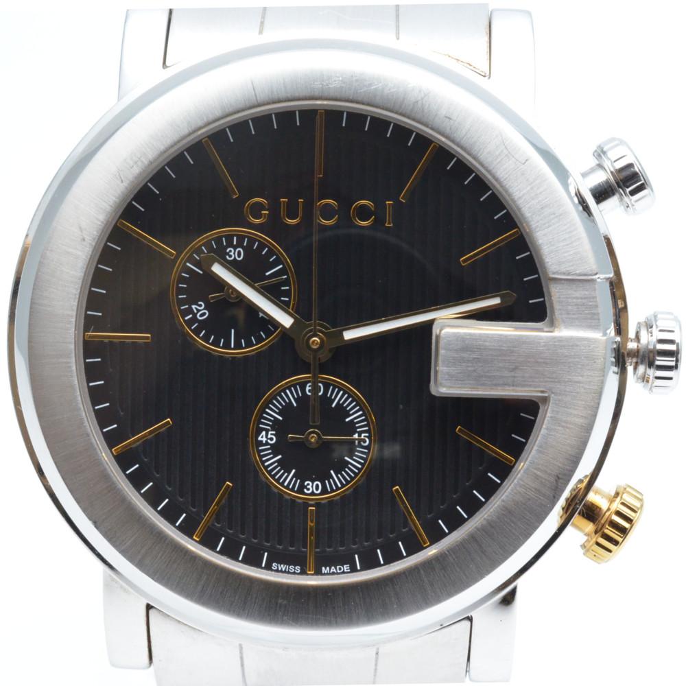GUCCI グッチ 101M YA101362 Gクロノ クォーツ時計 ブラック文字盤 クロノグラフ 腕時計 メンズ 【中古】