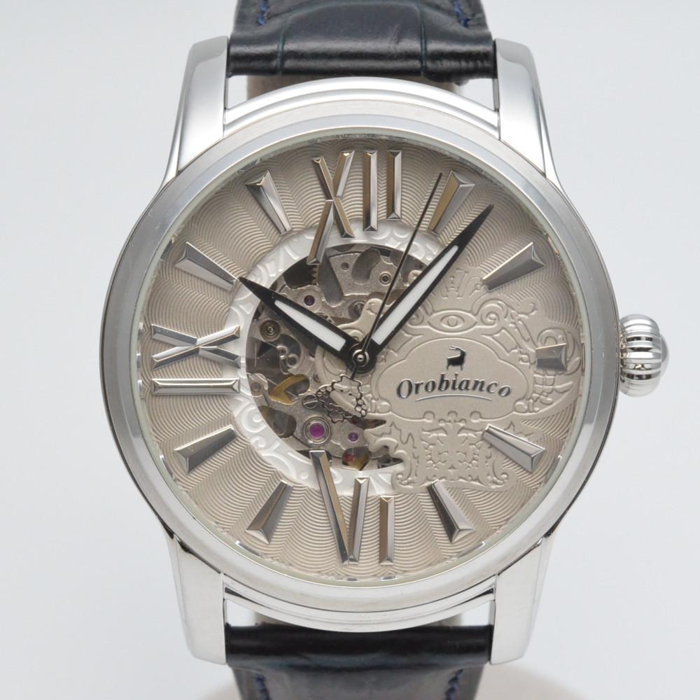 オロビアンコ OR-0011N オラクラシカ 自動巻き シルバー/ネイビー メンズ 腕時計 10気圧防水 スケルトン 【中古】