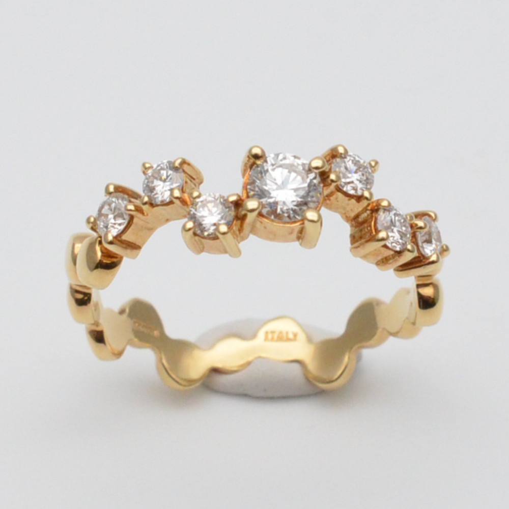 K18 ダイヤリング ゴールド 金 ダイヤモンド 石目なし 約13.5号サイズ 約3.1グラム リング 指輪 ジュエリー アクセサリー レディース 【中古】