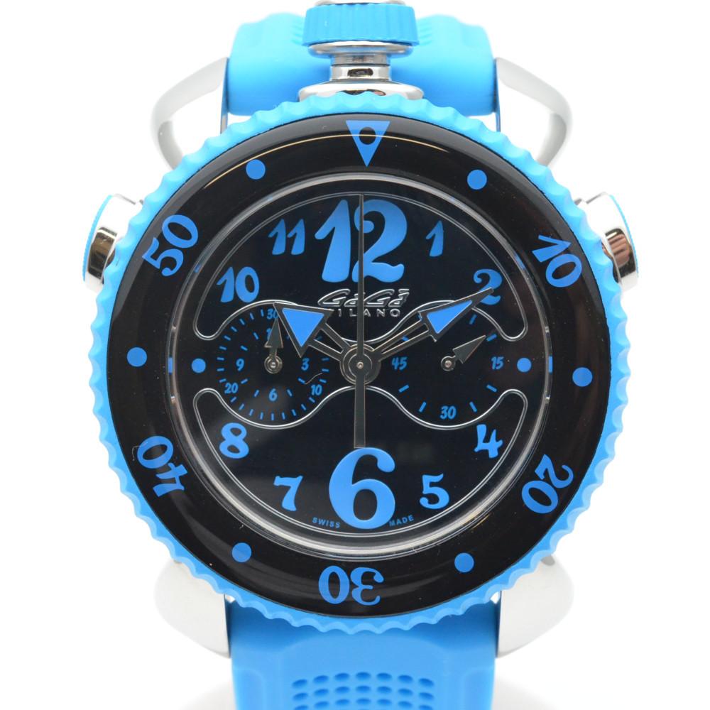 この商品はかんてい局盛岡店から発送いたします GaGaMILANO ガガミラノ 7010.03 クロノスポーツ ブラック文字盤 メンズ 45mm 送料無料激安祭 格安激安 腕時計 中古 クォーツ ラバーベルト