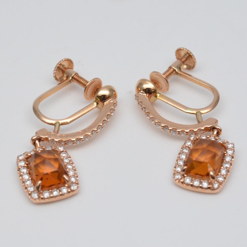 この商品はかんてい局盛岡店から発送いたします K18 シトリンダイヤイヤリング 超歓迎された ゴールド オレンジ シトリン1.7ct×2 ダイヤモンド0.38ct×2 アクセサリー 中古 ジュエリー 重量約3.6グラム 高級 耳飾り レディース イヤリング