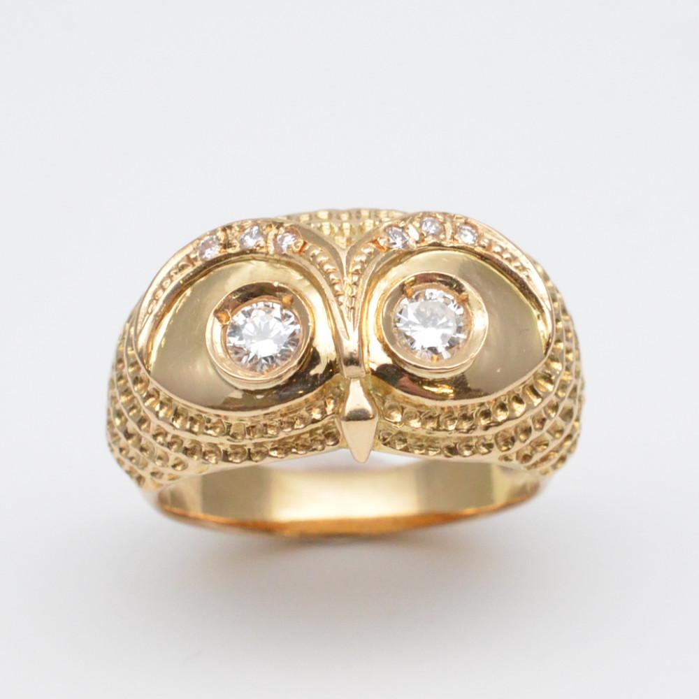 この商品はかんてい局盛岡店から発送いたします K18 フクロウモチーフダイヤリング 全国一律送料無料 D0.26ct 0.06ct ダイヤモンド 指輪 12号 ホワイト レディース 本日の目玉 ジュエリー メンズ 中古 ゴールド 8.6g アクセサリー