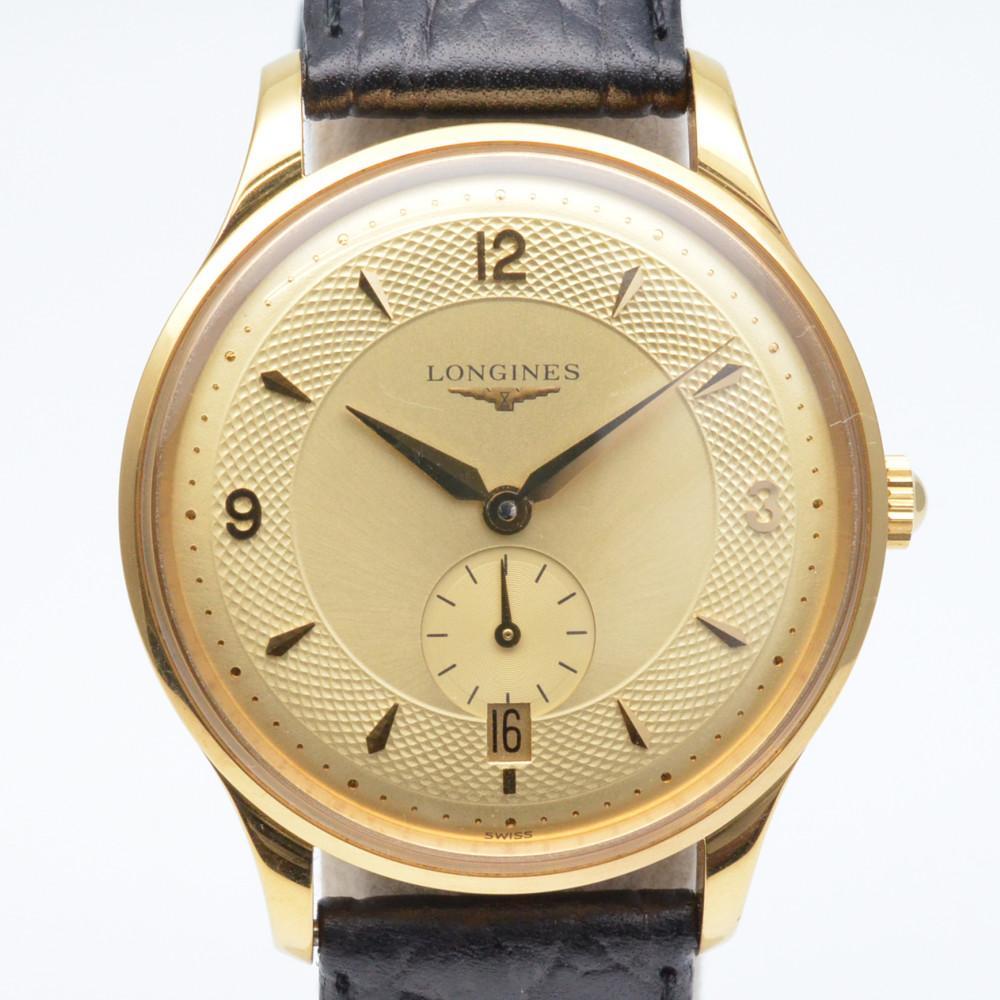 この商品はかんてい局盛岡店から発送いたします LONGINES ロンジン L4.685.2 グランドクラシック デイト 自動巻き ケースサイズ35cm ステンレススチール お金を節約 ブラック純正ベルト メンズ時計 腕時計 中古 日時指定 ゴールド文字盤