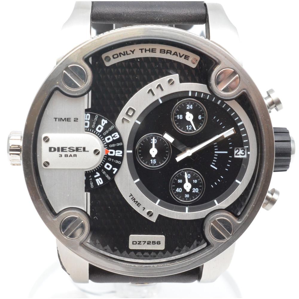 この商品はかんてい局盛岡店から発送いたします DIESEL ディーゼル DZ7256 リトルダディ クオーツ メンズ 中古 デイト表示 セール商品 ステンレススチール レザー シルバー ブラック 腕時計 新作アイテム毎日更新