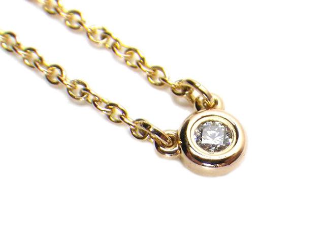 TIFFANY ティファニー バイザヤードネックレス ダイヤモンド 約3.7mm k18PG/ピンクゴールド ペンダント【仕上げ済み、程度A】【中古】