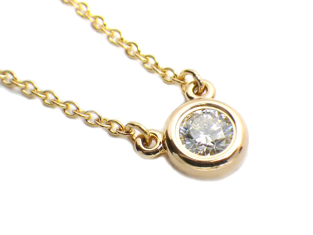 TIFFANY ティファニー バイザヤードネックレス ダイヤモンド 直径約5.2mm k18PG/ピンクゴールド ペンダント【仕上げ済み、程度A】【中古】