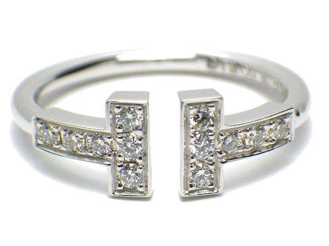 TIFFANY ティファニー Tワイヤーダイヤリング サイズ約#9.5号 k18WG/ホワイトゴールド 12Pダイヤモンド 【仕上げ済み、程度A】【中古】