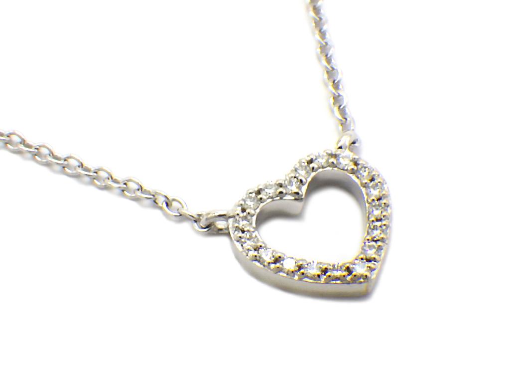 TIFFANY ティファニー メトロハートダイヤモンドネックレス K18WG 超人気 割り引き 中古 程度A 仕上げ済み ホワイトゴールド