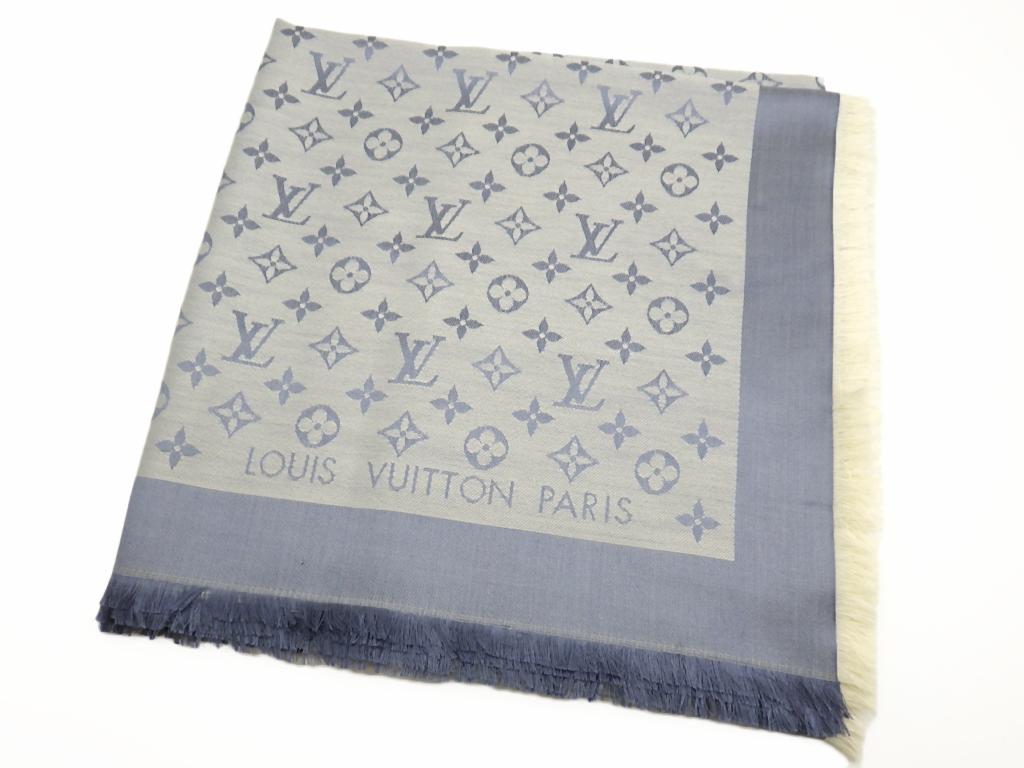 LOUIS VUITTON ルイヴィトン ショール・モノグラム デニム M71382 シルク60% ウール40%【程度A】【中古】