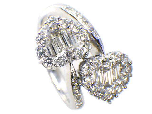 Queen クィーン ハートモチーフリング ダイヤモンド1.50ct 約#15号 K18WG/ホワイトゴールド【仕上げ済み、程度A】【中古】