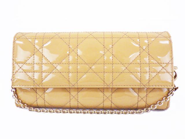 【美品】Christian Dior クリスチャンディオール カナージュ チェーンウォレット長財布 パテントレザー ベージュ系【中古】