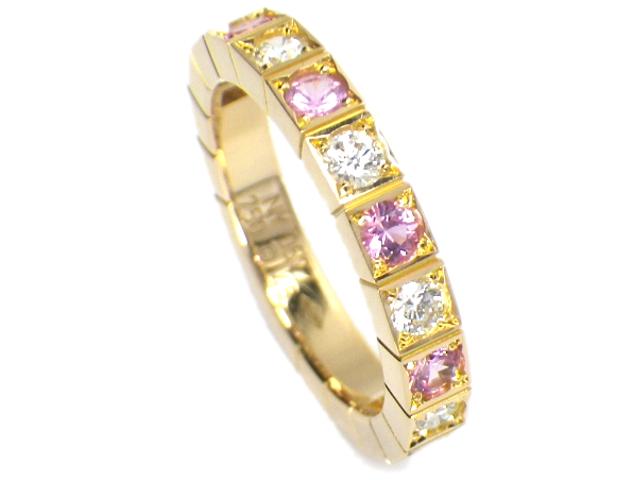 CARTIER カルティエ ラニエールリング 6Pピンクサファイア×6Pダイヤモンド サイズ#48(約8号) k18PG/ピンクゴールド B4070500【仕上げ済み、程度A】【中古】