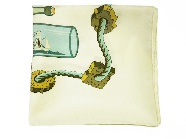 HERMES エルメス カレ90 スカーフ 「ボトルシップ」柄 シルク100%【程度A】【中古】