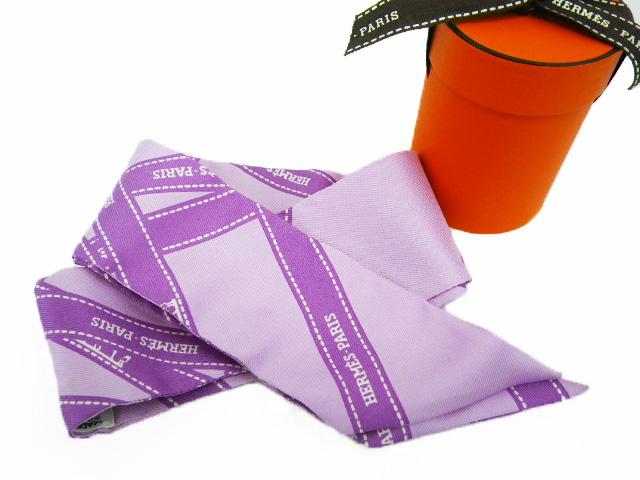 HERMES エルメス ツイリースカーフ 「ボルデュック(リボン)」柄 シルク100% 正規BOX付【程度A】【中古】