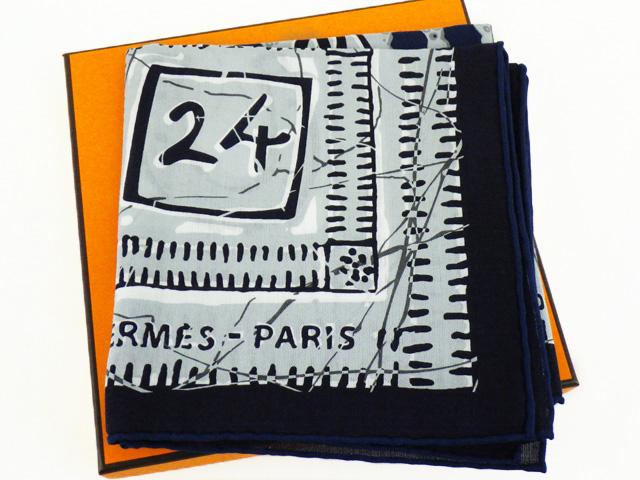 HERMES エルメス カレ65 『 Le Boubou H(ブーブーH)』柄 コットン100% 正規BOX付【程度A】【中古】