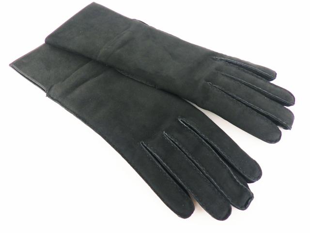HERMES エルメス ケリー レザーグローブ 手袋 サイズ:6.5 ヌバックレザー×カシミヤ ブラック 【程度A】【中古】
