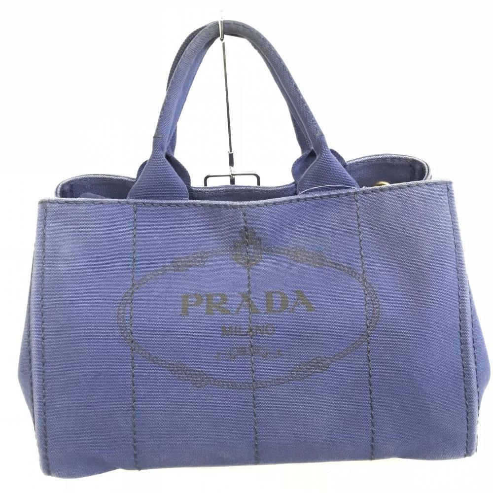 プラダ PRADA カナパ トートバッグ 2wayハンドバッグ ショルダー ネイビー BN2642 キャンバス 中古 カジュアル 管理RM0008