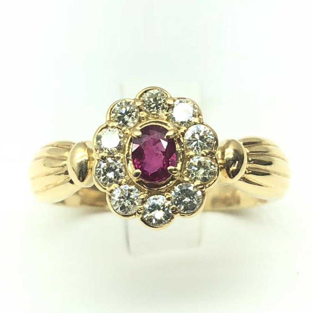 K18 R0.22/0.30 リング 指輪 ゴールド 花 ダイヤモンド ルビー 約10号 金 レディース 綺麗 かわいい 管理RM0028