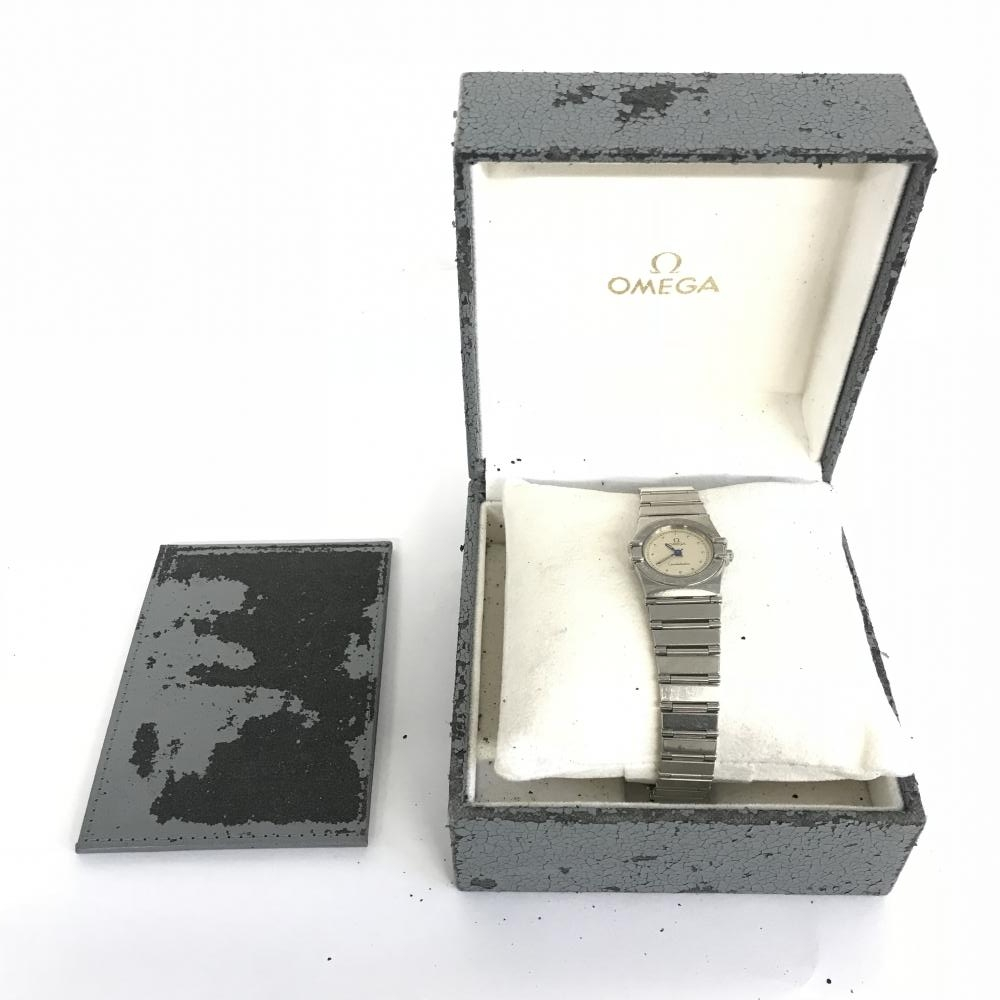 OMEGA オメガ コンステレーション ミニ 腕まわり 15cm クォーツ レディース 24mm 青針 2針 SS 白文字盤 シルバー 中古 稼働品 箱(劣化) ギャラ(印なし) 付き 管理MA0044